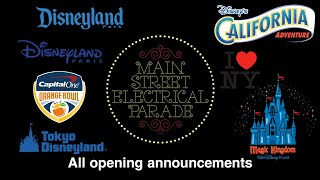 All Main Street Electrical Parade Opening Announcements