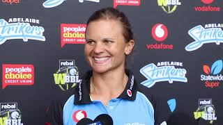 Adelaide Strikers Suzie Bates spoke to media ahead of the club's New Year's Eve match