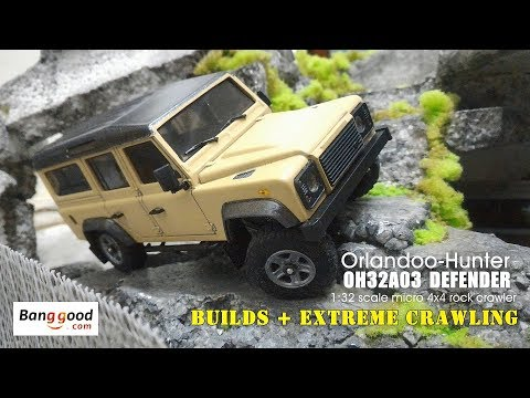 Orlandoo Hunter: 1:32 scale OH32A03 Land Rover Defender - Builds & Extreme crawling!