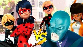 Miraculouis Ladybug e Cat Noir vs Hawk Moth Volpina Antibug e Ladywifi  totoykids novelinha