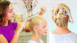 How To Create A Braided Scarf Bun   Baileys Back To School Hairstyles