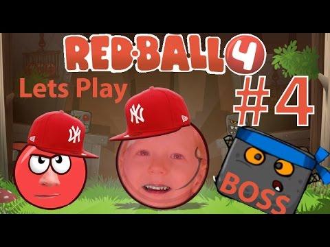 Играем в детскую игру Red Ball 4 Часть #4 Красный мячик встречается с Боссом Злым Квадратом видео