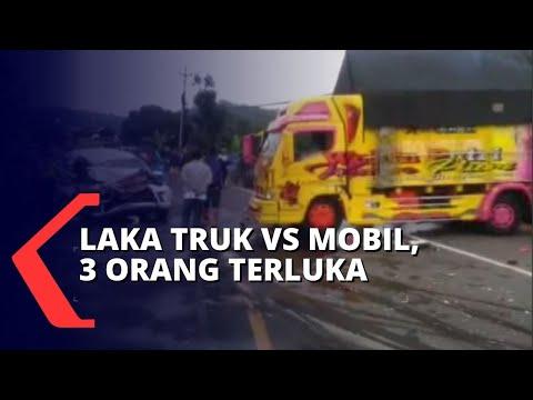 kecelakaan mobil dan truk di jalan raya semarang-yogyakarta orang terluka