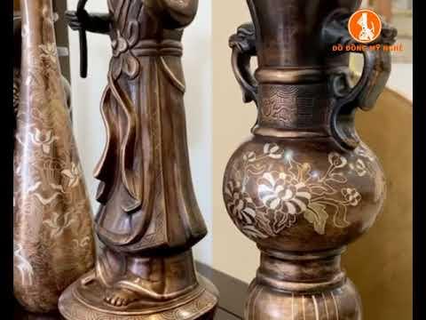 Bộ thờ cúng bằng đồng khảm tam khí mẫu mới