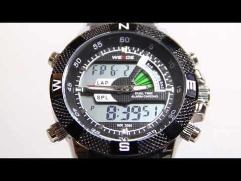 WEIDE Herrenuhr LED Sportuhr Stoppuhr Digital Armbanduhr Quarzuhr Wasserdicht
