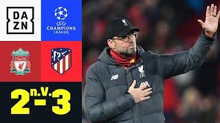 Atleti gewinnt den Achtelfinalkrimi an der Anfield Road! Wijnaldum bringt Liverpool in der 43. Minute in Führung. Aufgrund des Sieges von Atletico im Hinspiel geht es nach 90 Minuten in die Verlängerung. Ein Doppelpack von Marcos Llorente in der Verlängerung (97., 105.+1) bringt Atletico zurück ins Spiel und Alvaro Morata sorgte in der 121. Minute für einen Last-Minute-Sieg. Die Madrilenen stehen somit im Viertelfinale der UEFA Champions League.   ►Sichere dir deinen Gratismonat: http://bit.ly/DAZNerleben ►Alle Infos zur UEFA Champions League: https://bit.ly/2GD8lqf ►Das Programm von DAZN: http://bit.ly/2uFkulD ►DAZN auch auf Facebook: https://bit.ly/2lUGipo  +++ Die besten Fußball Highlights aus allen Wettbewerben auf YouTube +++ ►DAZN UEFA Champions League auf YouTube abonnieren: https://bit.ly/2WL75qD  ►DAZN UEFA Europa League auf YouTube abonnieren: https://bit.ly/2DTc8yb  ►DAZN Bundesliga auf YouTube abonnieren: https://bit.ly/2Daw8dS  ►DAZN Länderspiele auf YouTube abonnieren: https://bit.ly/2XAYNSd ►Goal auf YouTube abonnieren: https://bit.ly/2Bk4H0Y   +++ Die besten Sport Highlights auf YouTube +++ ►DAZN Tennis auf YouTube abonnieren: https://bit.ly/2DblEuK  ►DAZN Darts auf YouTube abonnieren: https://bit.ly/2ScVbqU    ►SPOX auf YouTube abonnieren: https://bit.ly/2MPaQqI   Erlebe tausende Sportevents in HD-Qualität auf allen Geräten. Auf DAZN gibt's europäischen Top-Fußball mit UEFA Champions League, UEFA Europa League, Premier League, Bundesliga-Highlights, La Liga, der Serie A und Ligue 1 sowie den besten US-Sport aus NFL, NBA, MLB und NHL. Dazu: Fight Sports, Darts, Tennis, Hockey und vieles mehr - wann und wo du willst.   ERLEBE DEINEN SPORT LIVE UND AUF ABRUF. AUF ALLEN GERÄTEN.   +++ Über DAZN +++   DAZN ist ein Livesport-Streamingdienst, der es Fans erlaubt, Sport so zu erleben, wie sie es möchten. Egal ob live zu Hause, unterwegs, zeitversetzt oder im Rückblick, DAZN bietet über 8.000 Sportübertragungen pro Jahr und beinhaltet damit das umfangreichst