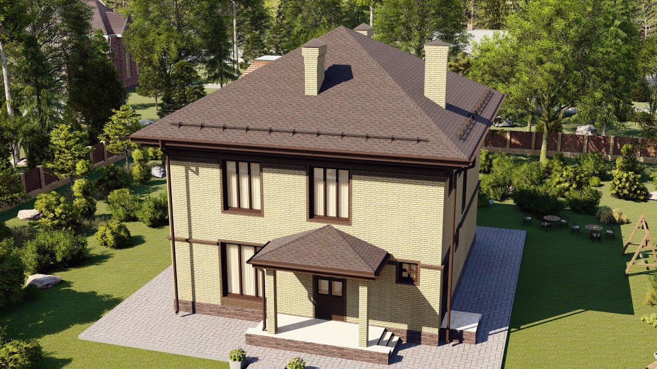Классический проект двухэтажного дома из газобетона 169 м2