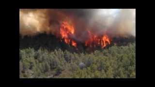preview picture of video 'Incendio Dos Aguas 2012. Frente de la umbria de Yatova, CV429 km 7.'
