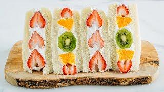 How To Make Japanese Fruit Sandwich (Fruit Sando) (Recipe)フルーツサンドの作り方 (レシピ)