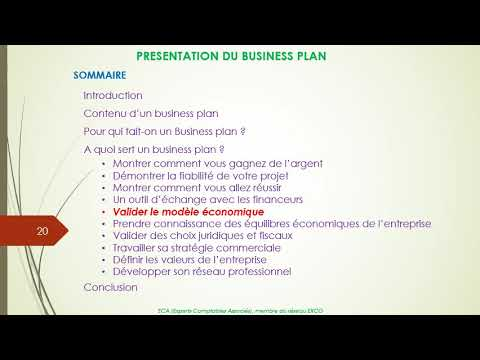 , title : 'Présentation du Business Plan ou Plan d'affaires