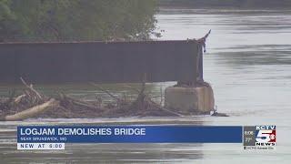 Giant logjam demolishes Missouri railroad bridge