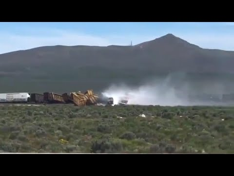 A 60-mile stretch of U.S. Interstate 80 in northeast Nevada was closed for a time while emergency crews responded to a train derailment. (June 19)