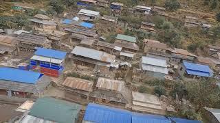 FPV Drone shot of Tanje Village, Lamjung, Nepal