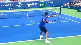 Roger Federer Forehand Slow Motion Court Level View - Effortless ATP Tennis Forehand Technique.