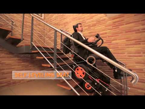 Electric wheelchair climbs up and down stairs