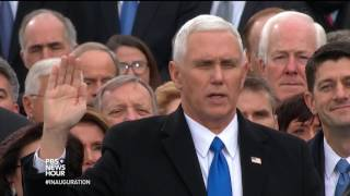 Mike Pence takes oath of office, becomes vice president of the United States.