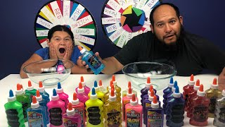 3 COLORS OF GLUE SLIME CHALLENGE MYSTERY WHEEL OF SLIME VS 3 COLORS OF GLUE MYSTERY WHEEL OF SLIME