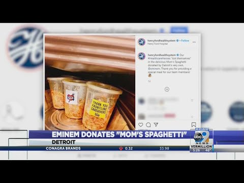 "Eminem Donates ""Mom's Spaghetti"" to Front-Line workers in Detroit"