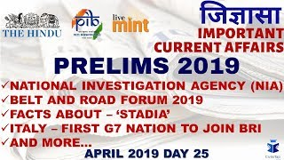 Day 25 | April 2019 | Daily Current Affairs | IAS Prelims 2019