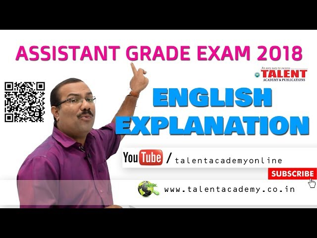 PSC | ASSISTANT GRADE (05-08-2018) - ENGLISH EXPLANATION