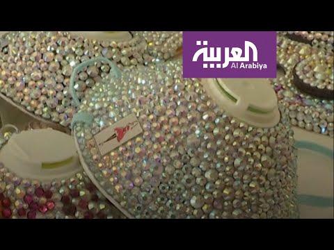 العرب اليوم - شاهد: أردنية تصنع كمامة على الموضة مزينة بالأحجار اللامعة