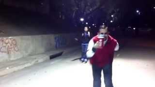 preview picture of video 'Bajando el puente de Vicente Lopez en Rollers 02.07.2014'