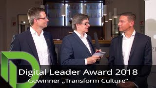 "Digital Leader Award 2018 - Sieger in der Kategorie ""Transform Culture"""