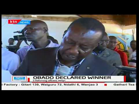 Governor Okoth Obado is heckled and praised as he's declared winner of the ODM ticket in Migori