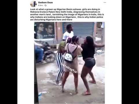 Two Nigerian girls seen fighting, today, in India