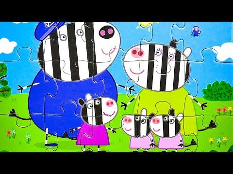 Свинка Пеппа Мультик - Зебра Зоя, близняшки Зузу и Заза - собираем пазлы для детей - Пазлы ТВ
