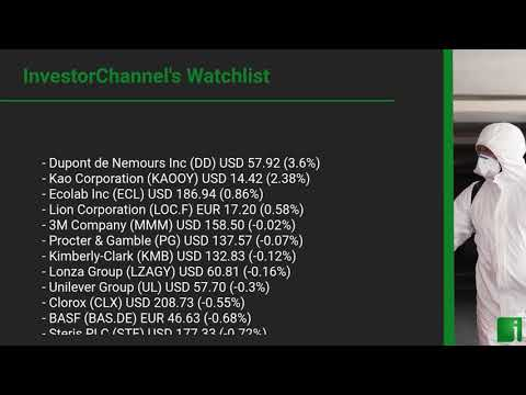 InvestorChannel's Disinfection Watchlist Update for Thursday, October 29, 2020, 16:05 EST