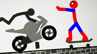 Stickman Destruction 5 Annihilation - Spiderman vs Motorcycle! Gameplay Part 3