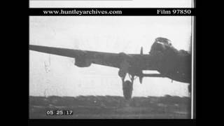 Night-time bomber takes off, World War Two.  Archive film 97850