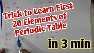 Trick to learn first 20 elements of periodic table in easy way