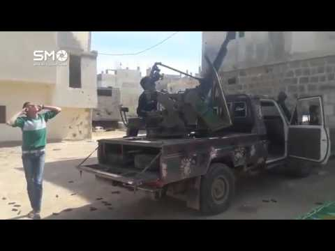 Сирия  Боевики стреляют из  зенитного пулемета
