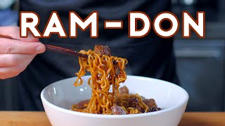 "Rarely does a dish serve as such a central metaphor for a film's primary conflict: in Parasite, boujee beef sits oppressively atop bargain noodles in the Park family's version of Ram-Don, the way they sit so literally atop others. It was tricky doing this one without spoilers, but I think I managed!  Music: ""XXV"" by Broke for Free https://soundcloud.com/broke-for-free  My playlist of preferred cooking tunes, Bangers with Babish!  https://spoti.fi/2TYXmiY  Binging With Babish Website: http://bit.ly/BingingBabishWebsite Basics With Babish Website: http://bit.ly/BasicsWithBabishWebsite Patreon: http://bit.ly/BingingPatreon Instagram: http://bit.ly/BabishInstagram Facebook: http://bit.ly/BabishFacebook Twitter: http://bit.ly/BabishTwitter"