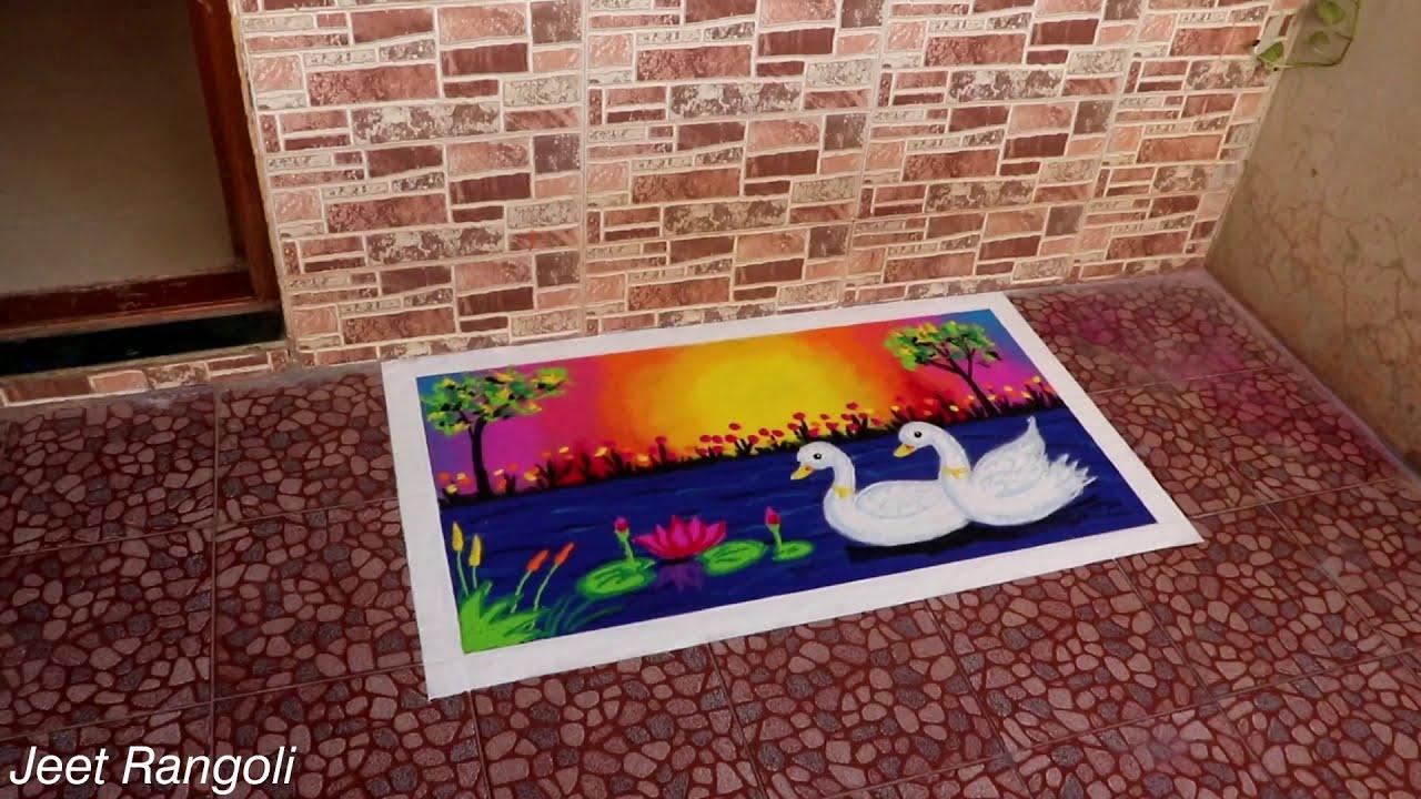big poster rangoli design of ducks by jeet