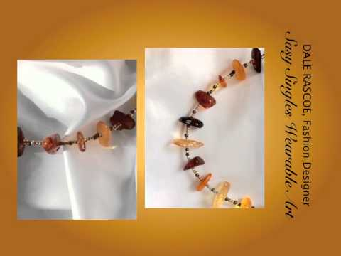 Sasy Singles Wearable Art  - tri-color amber ankle bracelet and matching earrings