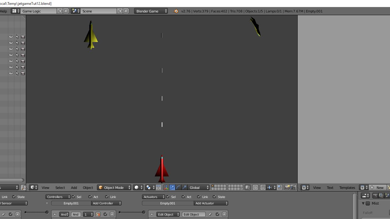 Blender Tutorial Making a Simple Shoot 'em Up Game Using Logic Bricks
