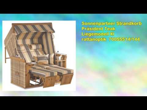 Sonnenpartner Strandkorb Präsident Teak Liegemodell Xl rattanoptik 70055514/144