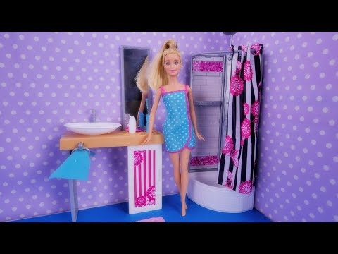 Barbie bathroom for doll house – Furniture accessories for dolls 2017 Opening Unboxing Play for kids