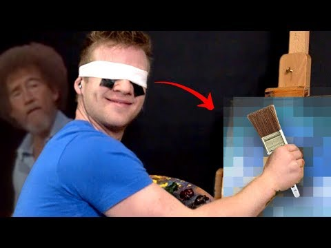 Following a Bob Ross Video BLINDFOLDED!