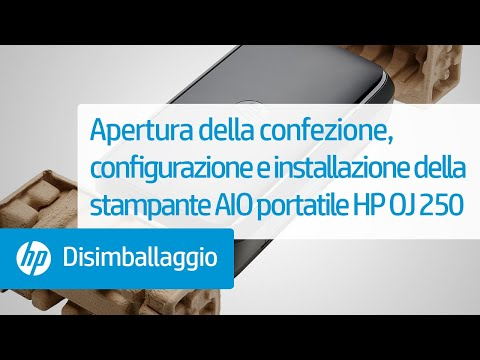 Apertura della confezione, configurazione e installazione della stampante All-in-One portatile HP OfficeJet 250