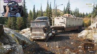 Transporting an oversized construction trailer - SnowRunner   Logitech g29 gameplay