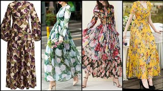 Long Floral Print Maxi Dresses Collection For Women Upcoming Trend 2020