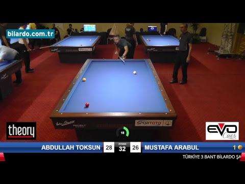ABDULLAH TOKSUN & MUSTAFA ARABUL Bilardo Maçı - 2018 ERKEKLER 1.ETAP-1. Ön Eleme