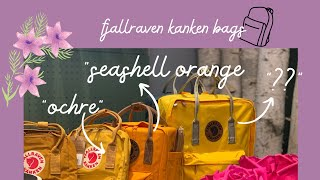 Fjallraven Kanken backpack- Which is which? Acorn, Ochre, Seashell Orange, mystery yellow?