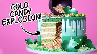 St. Patrick's Day Explosion Cake! | Green Ombre, Gold Candy Surprise Inside | How To Cake It