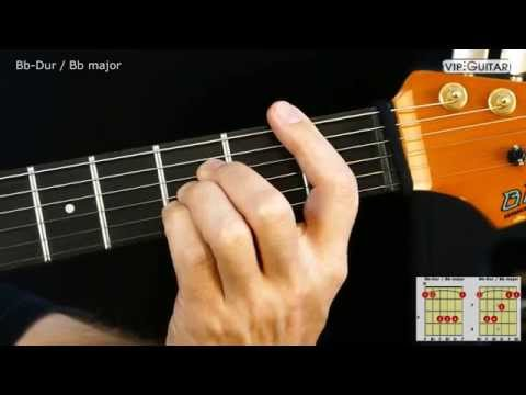 Gitarrenakkorde: Bb-Dur Akkord / Bb major chord