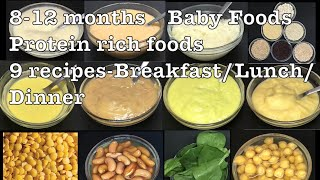 8 months Baby Foods | Protein Rich Foods | 8 - 12 months Baby Food Ideas | Baby Foods for 8 months